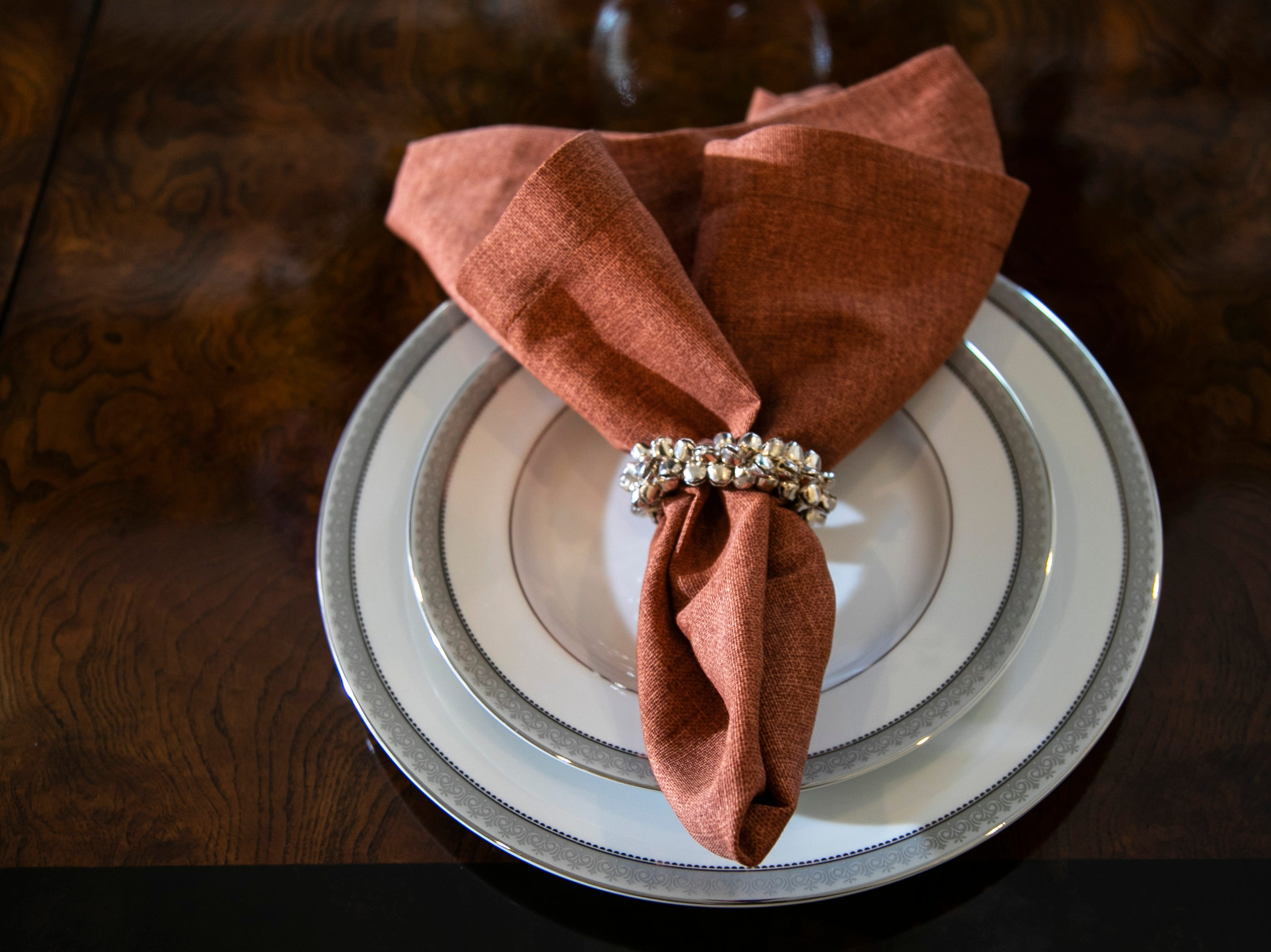 A place setting in the formal dining room of the Mack home.