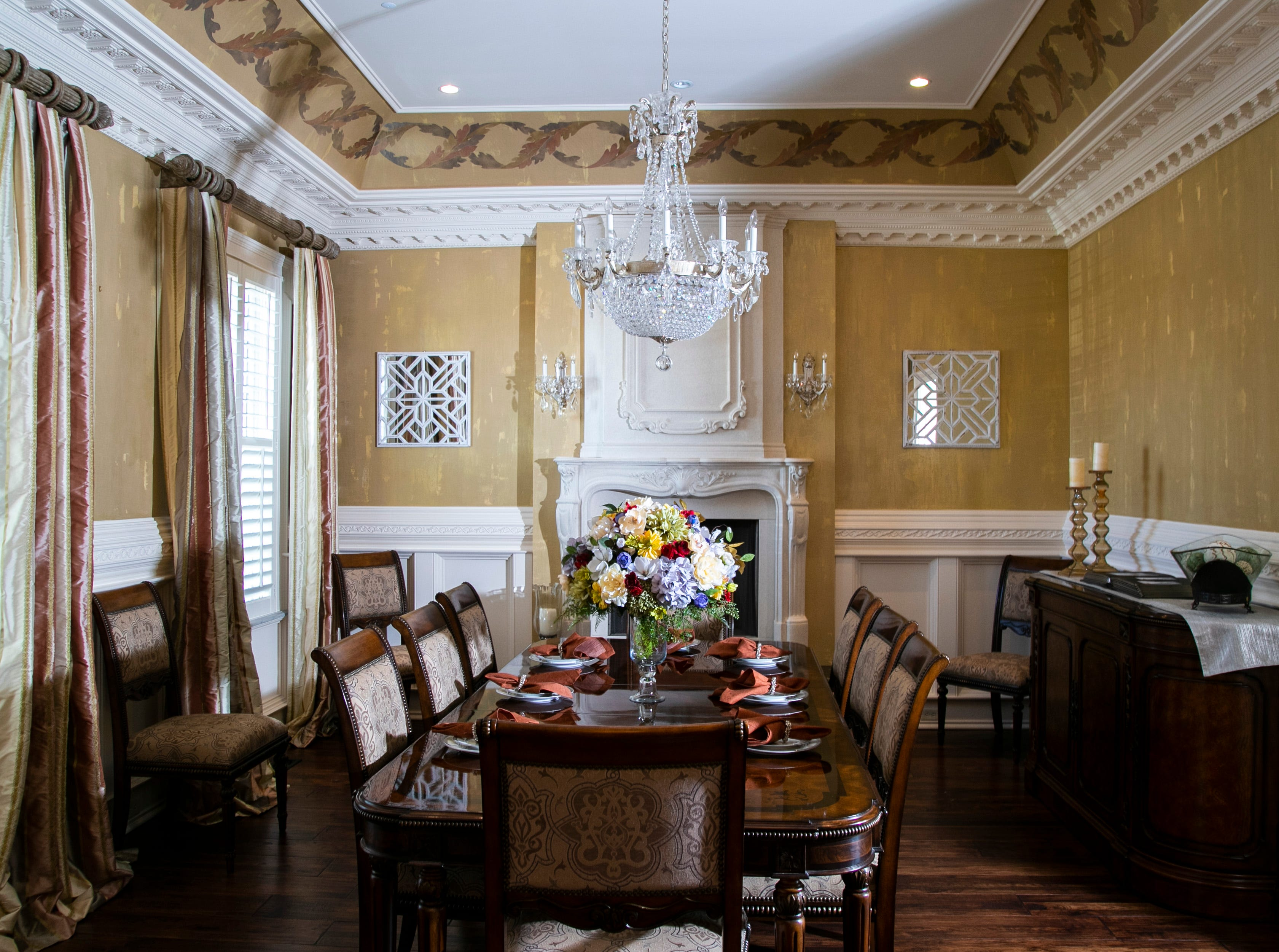 The formal dining room of the Mack home.
