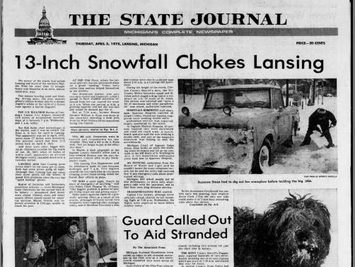 """A snow day was called after a """"freak snowstorm"""" brought 15 inches of snow down upon campus on April 3, 1975"""