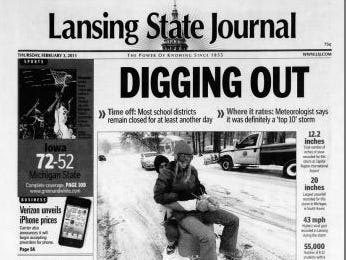 """MSU suspended classes for the first time in 17 years on Feb. 2, 2011, """"due to blizzard conditions."""""""