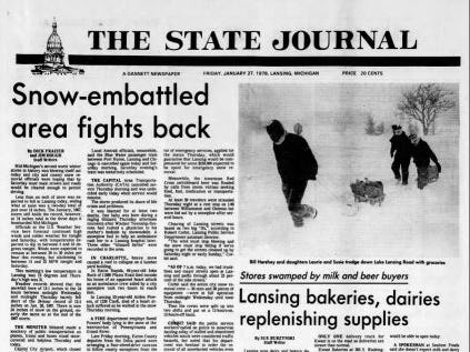 MSU was closed for two days on Jan. 26 and 27, 1978, due to 24 inches of snowfall.