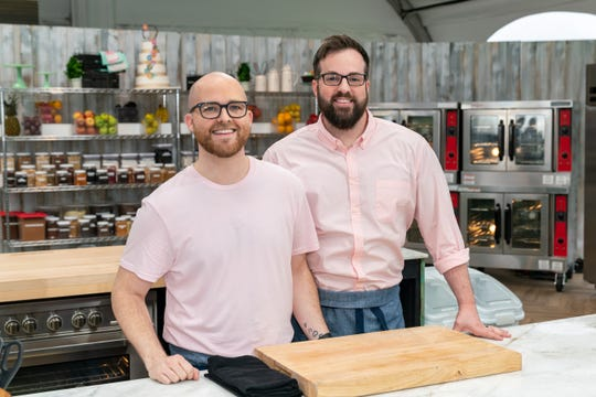 "Competitors Stephen Tisdale and Andrew Tisdale compete in an episode of ""Winner Cake All"" on the Food Network."