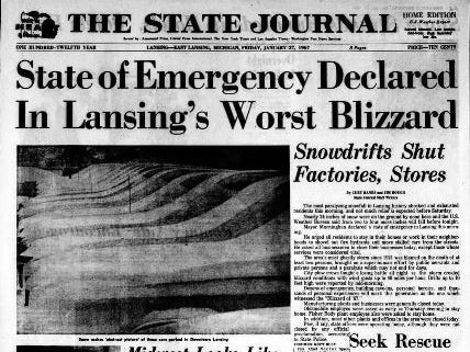 It took MSU 110 years to call its first snow day on Jan. 27, 1967 following 26 inches of snowfall.