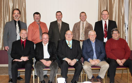 Clipper City Chordsmen board officers for 2019 are: second row from left, Scott Finley, district vice president; Dennis Luckow, member-at-large; Tim Steffen, vice president music; Don Lewellen, vice president publicity; Anthony Schreiter, treasurer; and first row from left, Derek Luckow, member-at-large; Jon Cisewski, secretary; David Rabe, president; Jim Rasmus, past president; and Dave Buss, director.