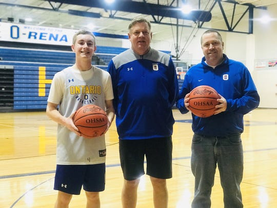 Ontario coach Joe Balogh (center) experienced a first this season as he is coaching a former players', Andy Kurtz (right), son, Kolten Kurtz (left) this season.