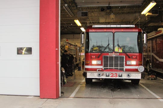 Marion city's newest fire engine pulls out of Station 3 on Jefferson Street Tuesday Morning.