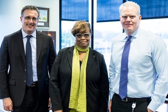 David Waddell, chairman of Epicenter Memphis, left, Beverly Robertson, Greater Memphis Chamber president and CEO, and Richard Smith, CEO of FedEx Logistics and chairman of the Greater Memphis Chamber