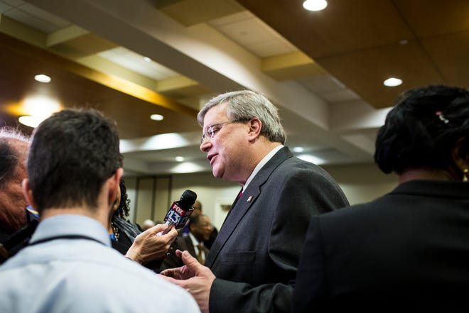 January 28 2019 - Memphis Mayor Jim Strickland speaks to media after his State of the City address at The Links at Whitehaven on Monday.