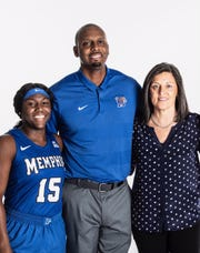 Memphis point guard Taylor Barnes (left) with men's basketball coach Penny Hardaway and women's basketball coach Melissa McFerrin at AAC Media Day