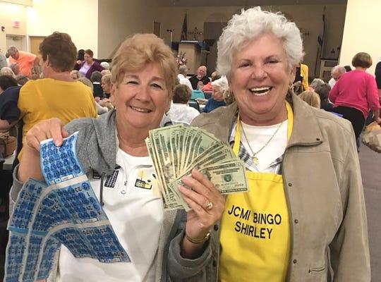 Nancy Gelle, with Bingo Committee member Shirley Posner. Gelle was the big winner at JCMI's Monday Night Bingo.