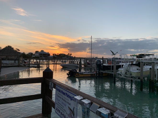 Sunset from the marina at Pelican Bend, Isles of Capri.
