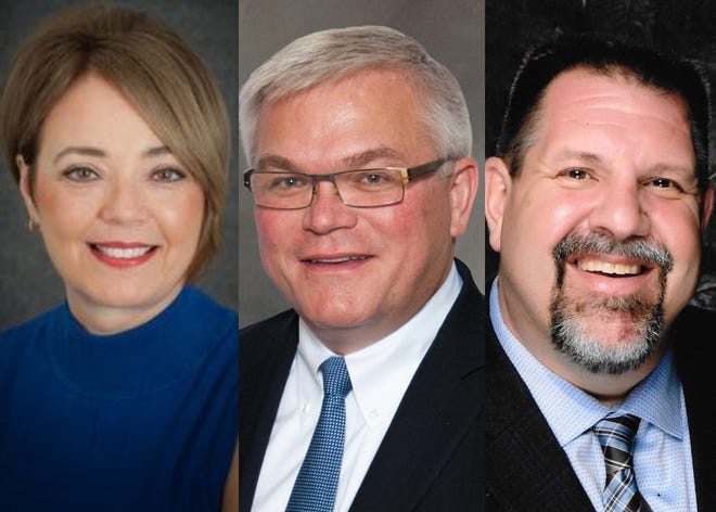 Pictured from left are Mequon mayoral candidates Cheryle Rebholz, District 4 Alderman John Wirth and District 6 Alderman Brian Schneider.