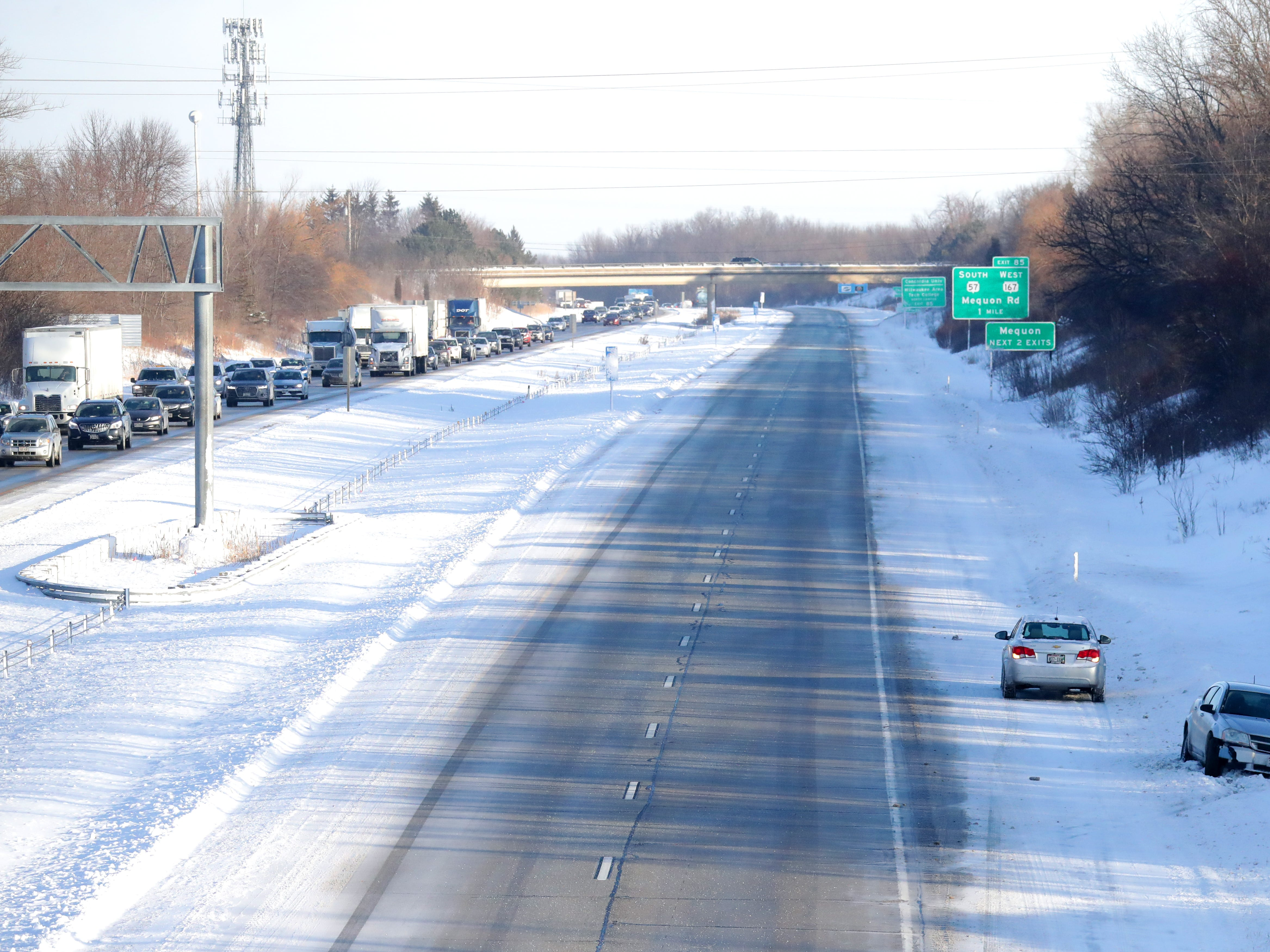 I-43 northbound was shutdown Tuesday north of West Brown Deer Road and south of Mequon Road in Ozaukee County due to a jackknifed semi involved in an accident that was reportedly caused by black ice and slippery road conditions.