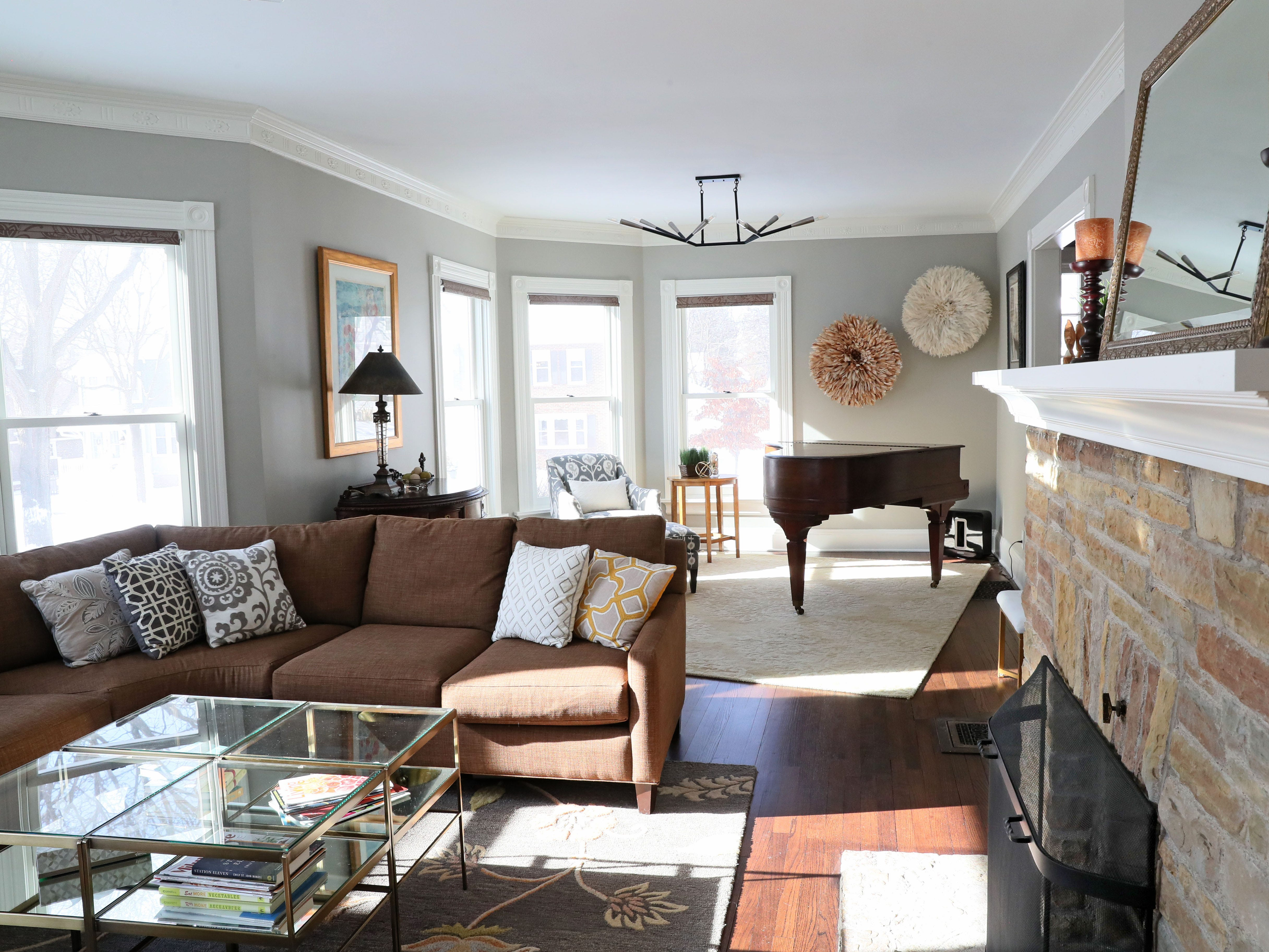 Original oak flooring was kept in the living room.