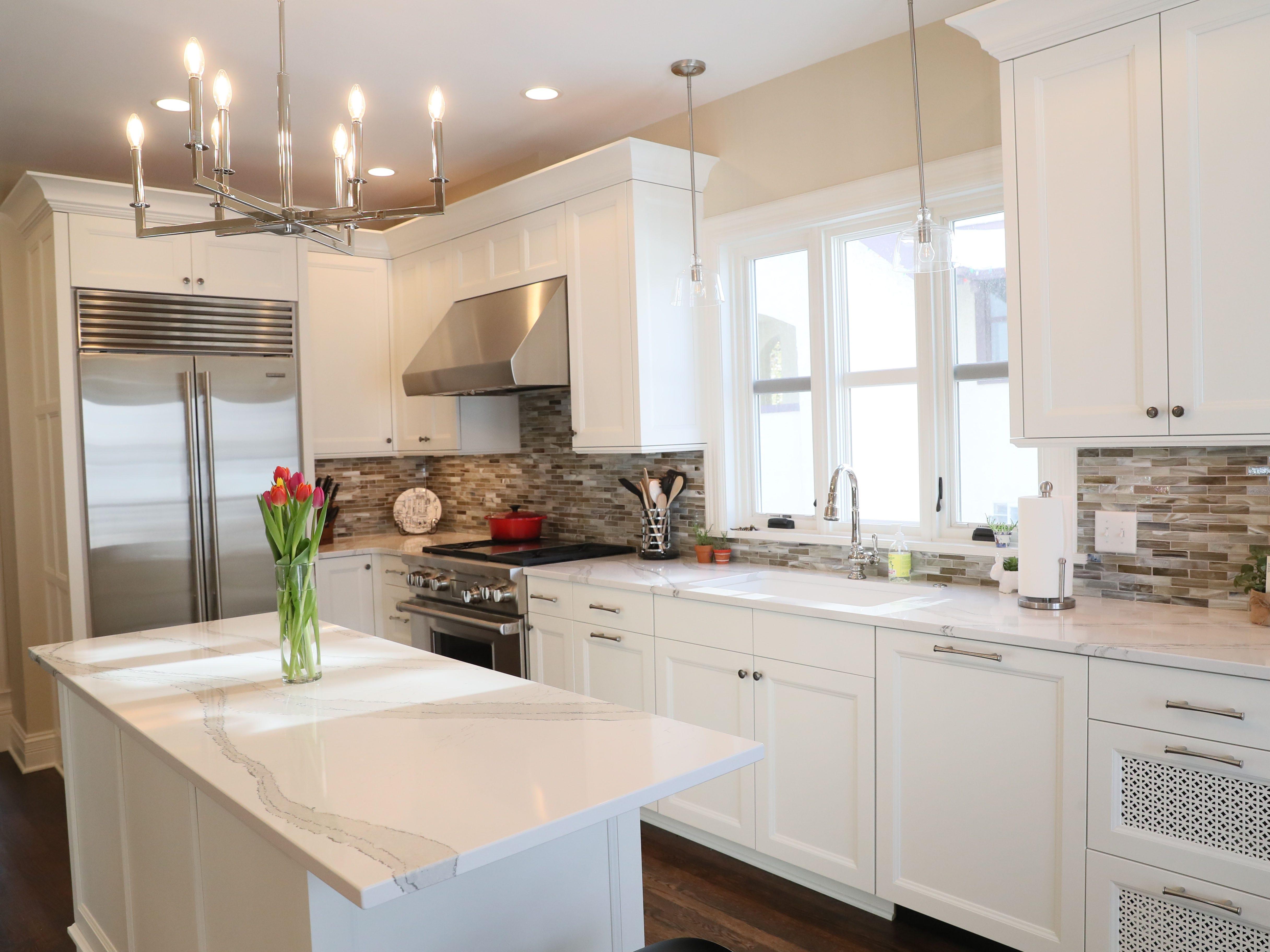 The kitchen countertops are Cambria quartz.