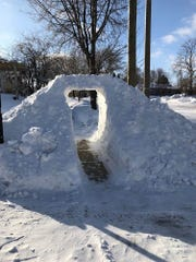 Creative shovelers carved out this snow trellis over the sidewalk at 55th and Montana Streets on Milwaukee's south side.
