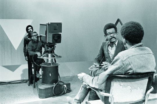 """Ellis Haizlip (center, seen here interviewing Melvin Van Peebles) was the host of """"SOUL!,"""" the influential African-American entertainment-talk show chronicled in the documentary """"Mr. SOUL!"""""""