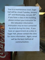 A sign was posted to all entrances of Sugar Hall on the University of Louisiana at Monroe's campus notifying students and visitors that the building is closed on Jan. 29. The building currently has a bat infestation.