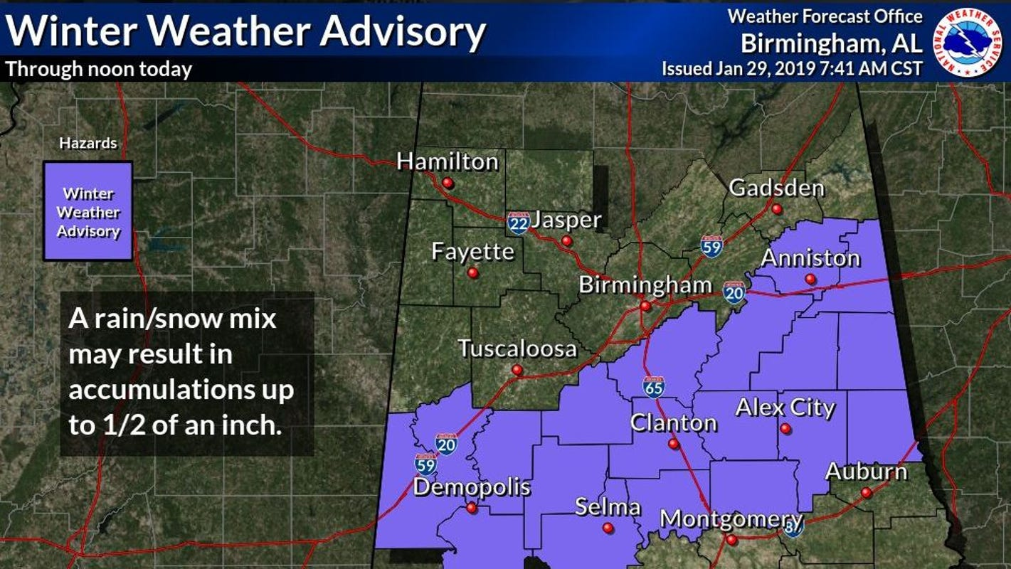 Light snow reported in north central Alabama