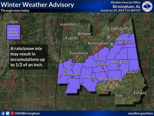 Winter weather advisory effective until noon roughly from I-59 to I-85 corridors Tuesday. A rain/snow mix early then clearing. Breezy, highs from mid 30s NW to upper 40s SE. Mostly clear tonight. Lows from near 20 N to mid 20s SE. Partly cloudy Wednesday. Highs from 30s NW to the 40s SE.