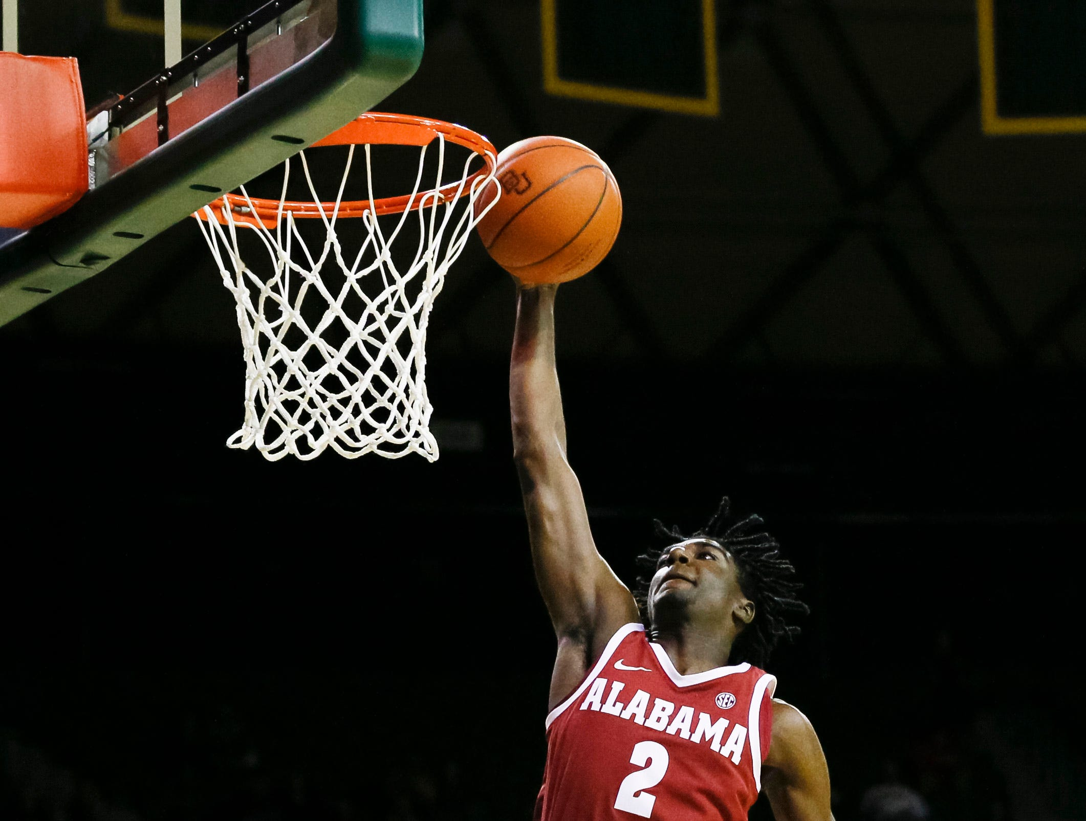 Jan 26, 2019; Waco, TX, USA; Alabama Crimson Tide guard Kira Lewis Jr. (2) shoots the ball against the Baylor Bears during the first half at Ferrell Center. Mandatory Credit: Ray Carlin-USA TODAY Sports