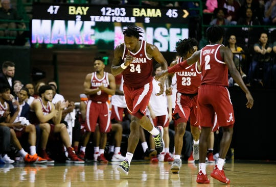 Jan 26, 2019; Waco, TX, USA; Alabama Crimson Tide guard Tevin Mack (34) reacts after a basket against the Baylor Bears during the second half at Ferrell Center. Mandatory Credit: Ray Carlin-USA TODAY Sports