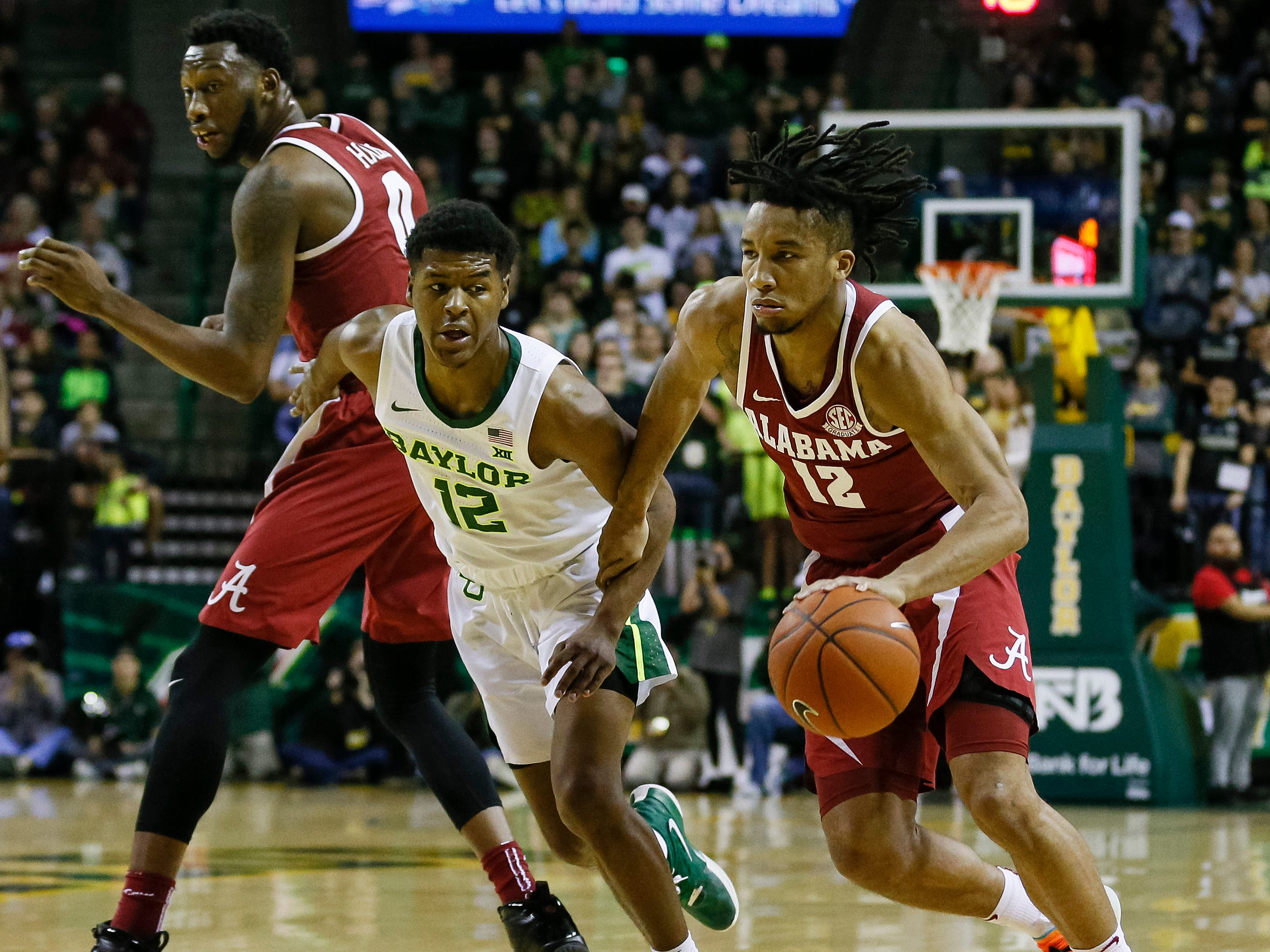 Jan 26, 2019; Waco, TX, USA; Alabama Crimson Tide guard Dazon Ingram (12) dribbles the ball around against the Baylor Bears during the first half at Ferrell Center. Mandatory Credit: Ray Carlin-USA TODAY Sports