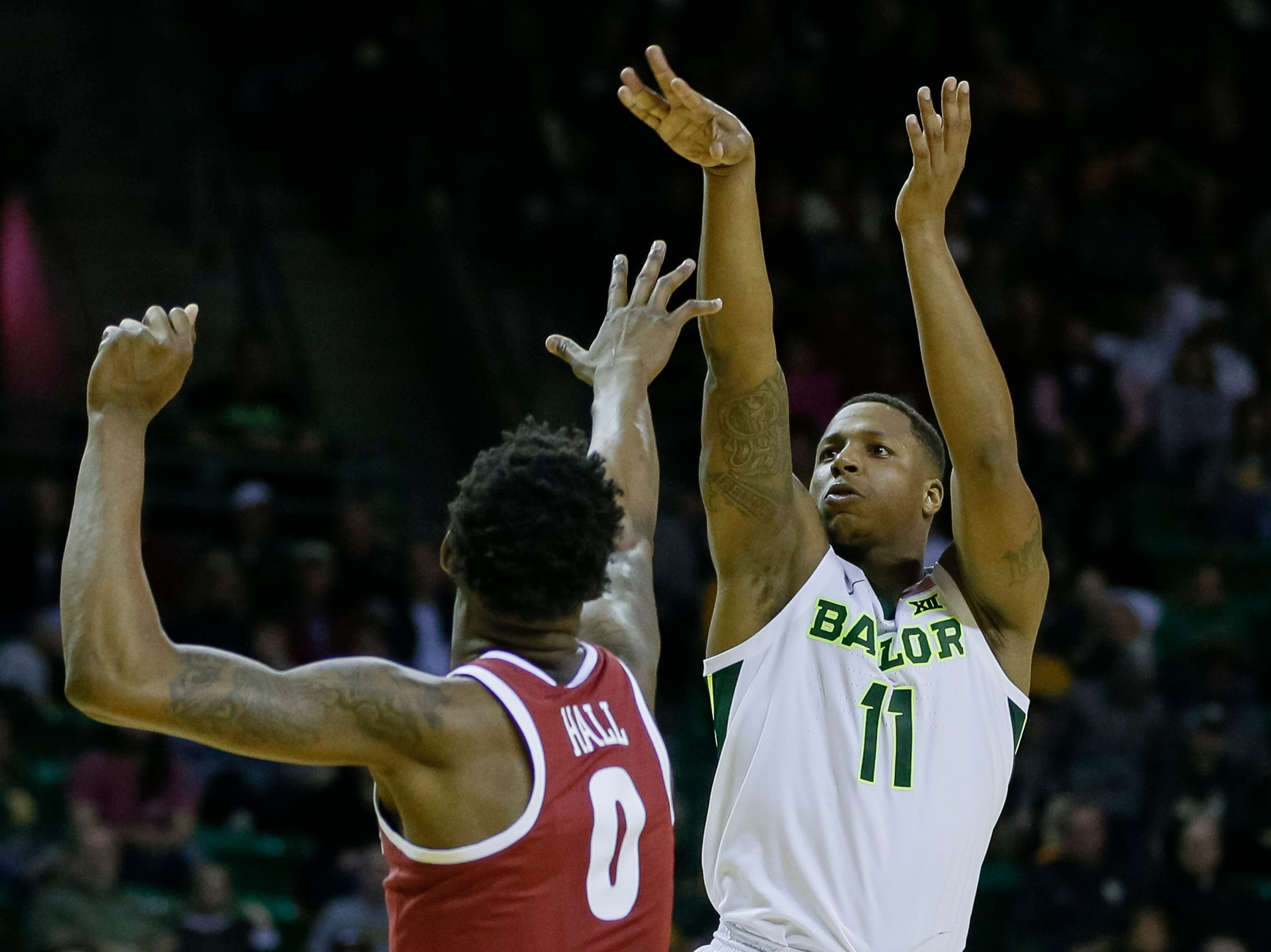 Jan 26, 2019; Waco, TX, USA; Baylor Bears guard Mark Vital (11) shoots the ball over Alabama Crimson Tide forward Donta Hall (0) during the second half at Ferrell Center. Mandatory Credit: Ray Carlin-USA TODAY Sports