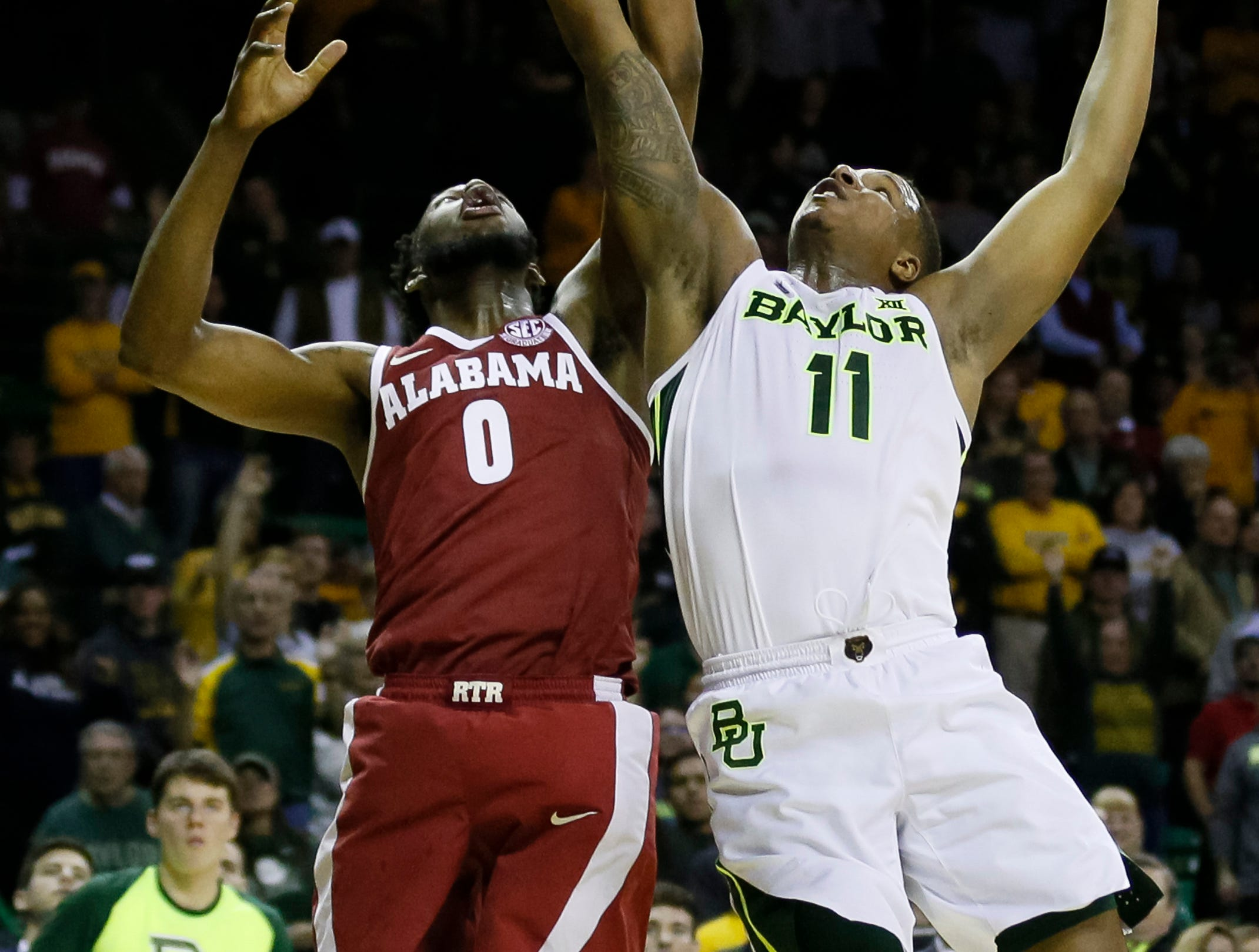 Jan 26, 2019; Waco, TX, USA; Alabama Crimson Tide forward Donta Hall (0) and Baylor Bears guard Mark Vital (11) reach for the rebound during the second half at Ferrell Center. Mandatory Credit: Ray Carlin-USA TODAY Sports