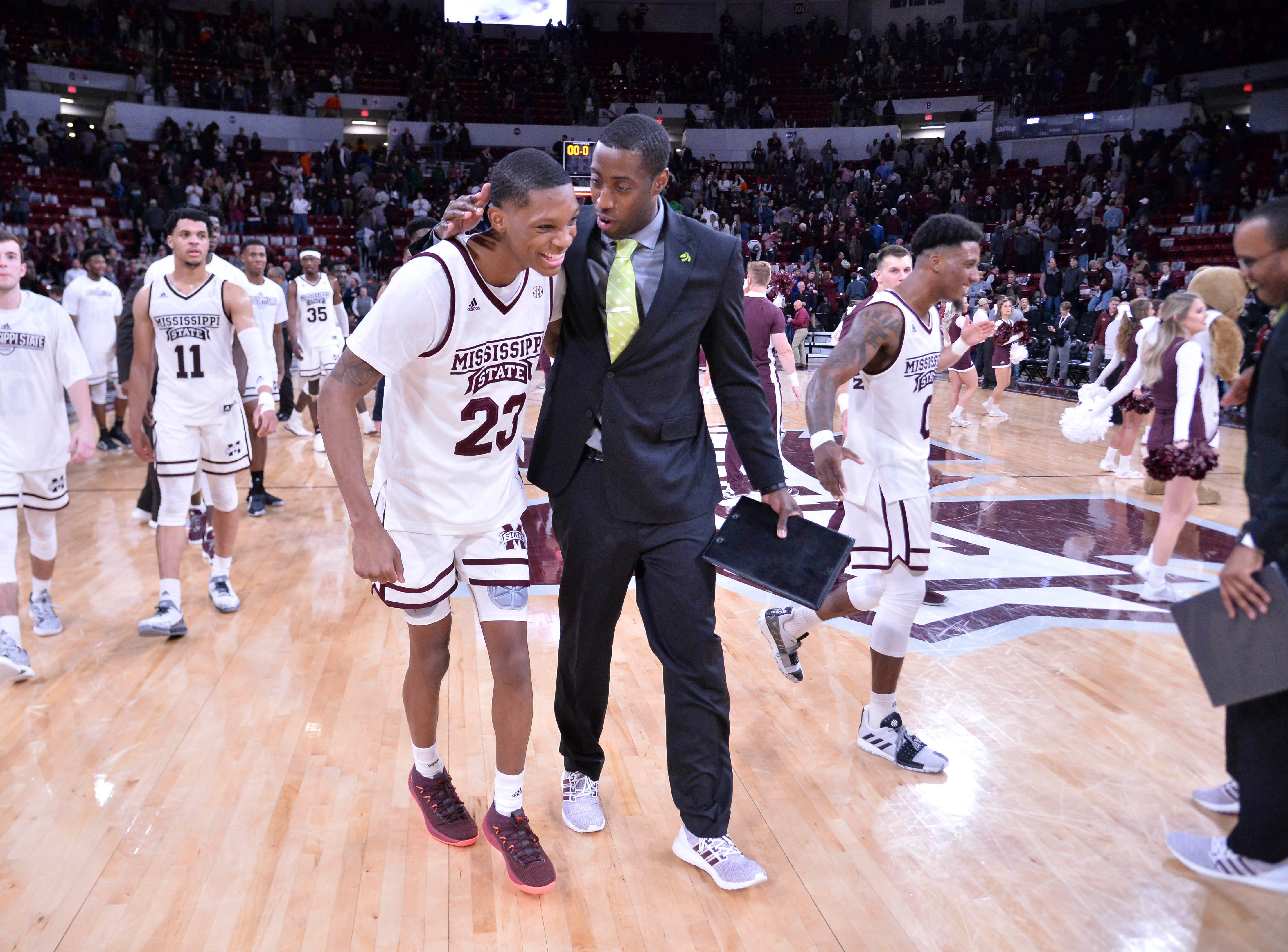 Jan 26, 2019; Starkville, MS, USA; Mississippi State Bulldogs players and staff react after defeating the Auburn Tigers at Humphrey Coliseum. Mandatory Credit: Matt Bush-USA TODAY Sports