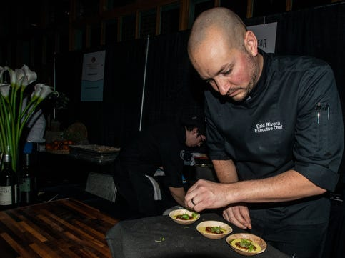 Vintage Year serves Seared Scallops with Curry Cream Corn, Chive Oil and Micro Green Salad. The annual Feast of Flavours was held Monday, Jan. 28, 2019, at Alabama Shakespeare Festival in Montgomery.