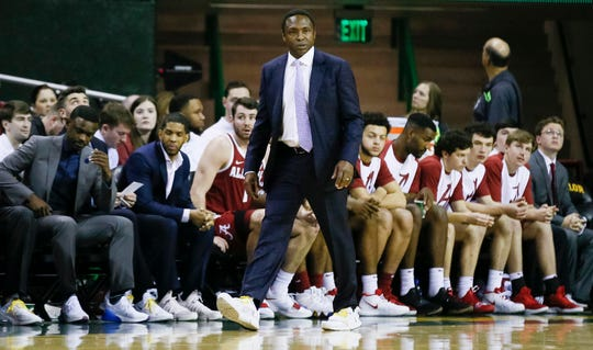 Jan 26, 2019; Waco, TX, USA; Alabama Crimson Tide head coach Avery Johnson looks on from the sidelines during the first half against the Baylor Bears at Ferrell Center. Mandatory Credit: Ray Carlin-USA TODAY Sports