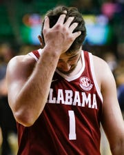Jan 26, 2019; Waco, TX, USA; Alabama Crimson Tide guard Riley Norris (1) looks downward as he leaves the court following a game against the Baylor Bears at Ferrell Center. Baylor won 73-68. Mandatory Credit: Ray Carlin-USA TODAY Sports