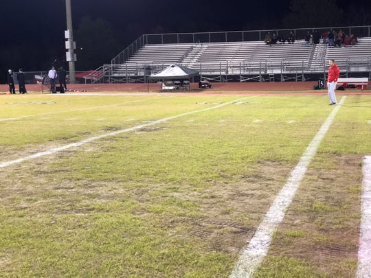 Oakland High's football field showed signs of weather and multiple use when it came playoff time in 2018. The Patriots are now working to get artificial turf.