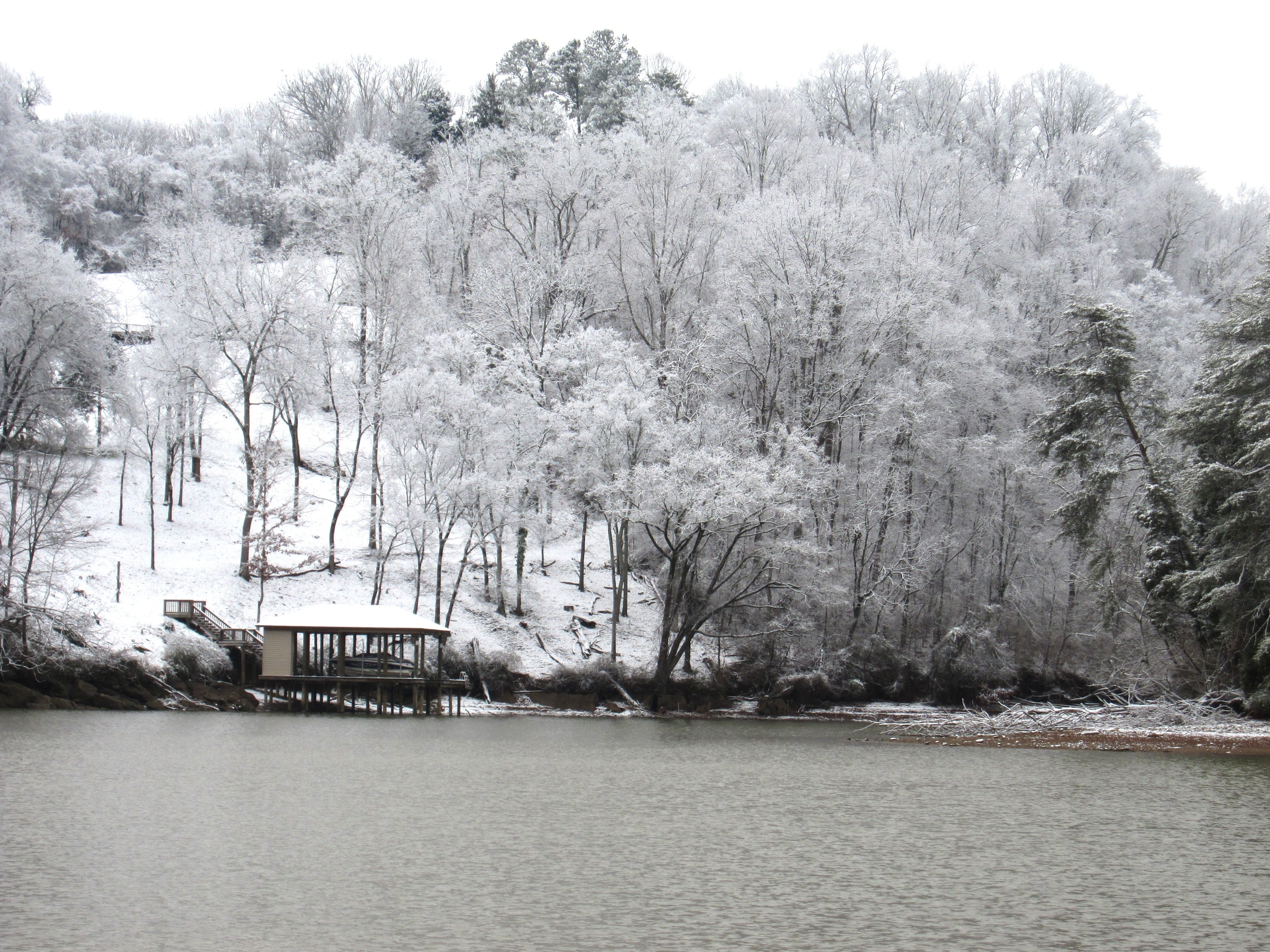 Snow blankets a hillside along Fort Loudoun Lake by Topside Road in Louisville, Tennessee, on January 29, 2019.