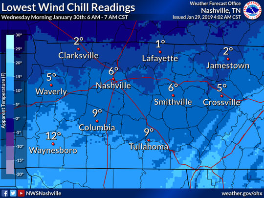 Wind chill temperatures expected Wednesday, Jan. 30, 2019