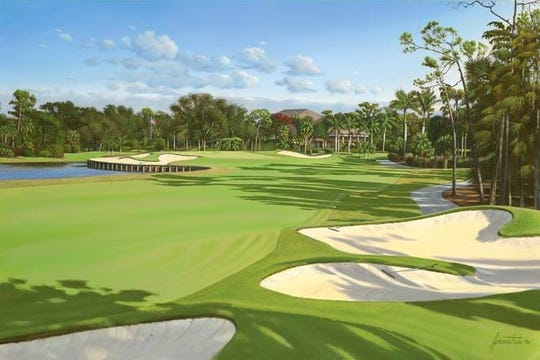 The painting by longtime Ryder Cup official painter Graeme Baxter of the 18th hole at Eagle Creek Country Club in Naples was unveiled on Friday.