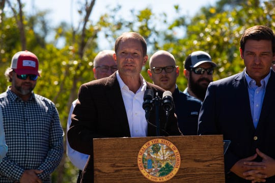 Sanibel City Councilman Chauncey Goss speaks at a news conference at Rookery Bay Environmental Learning Center in East Naples on Tuesday, Jan. 29, 2019. Goss was nominated by DeSantis to serve on the South Florida Water Management District board.