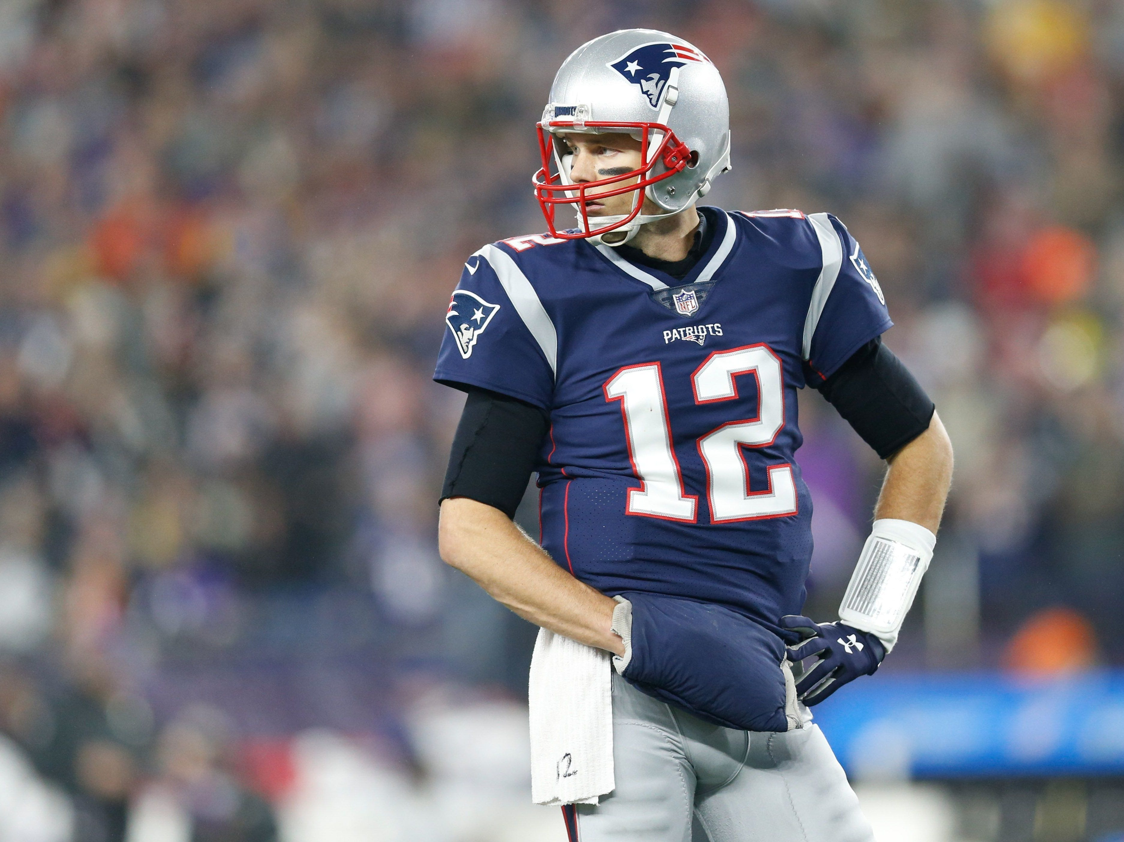 New England quarterback Tom Brady will be playing in his ninth Super Bowl.   Greg M. Cooper/USA TODAY Sports New England Patriots quarterback Tom Brady (12) reacts during the second quarter against the Minnesota Vikings at Gillette Stadium.