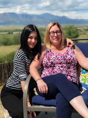 Alley Hoza Rodela, right, with her sister Vanessa Hoza. Rodela was diagnosed with an inoperable brain-stem tumor in July.