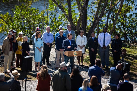Gov. Ron DeSantis addresses Florida's environmental concerns as well as funding at a news conference at Rookery Bay Environmental Learning Center in East Naples on Tuesday, Jan. 29, 2019.