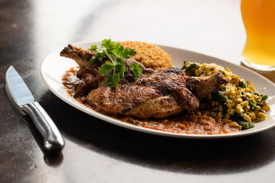 Yard House's new menu items include Abuela's Chicken with roasted pasilla, street corn, chipotle sauce, cilantro and spicy rice.