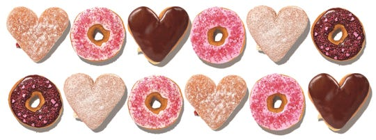 Dunkin' Donuts will offer heart-shaped doughnuts for a limited time.