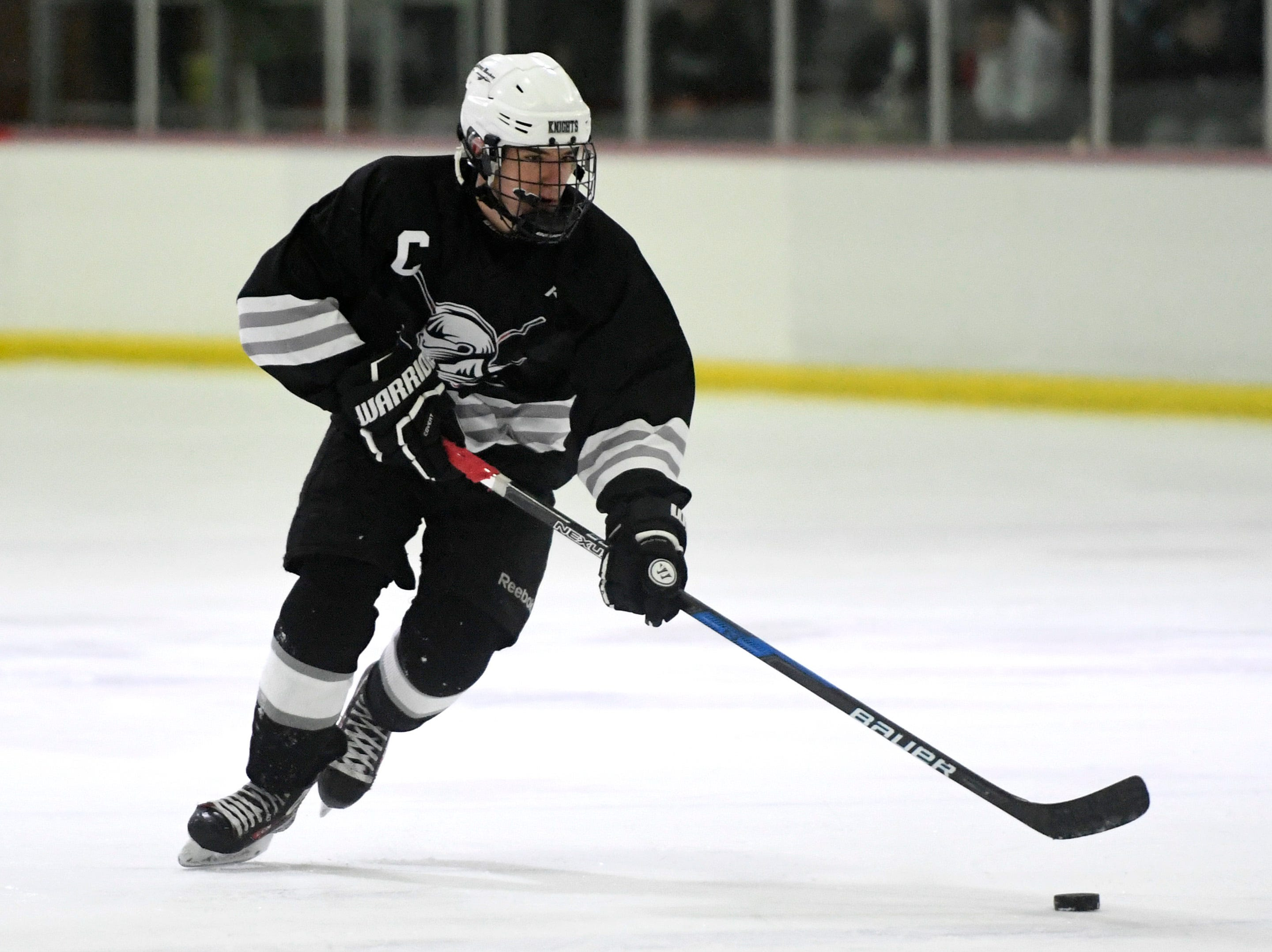 Wayne's Eric Kruglyak plays against Lakeland. Lakeland defeats Wayne in the Passaic County hockey championship, 6-3, on Monday, Jan. 28, 2019 in Little Falls.