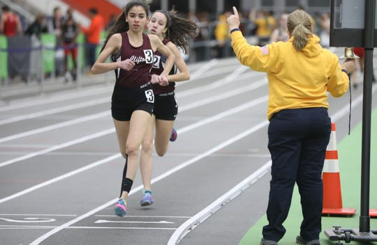 Andrea Dubbels and Mia Dubac, of Clifton ran one, two in the 800 meters. Monday, January 28, 2019