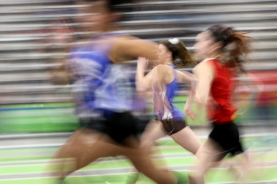 Girls compete in the 55 meters at the Passaic County Indoor (track) Championships at Ocean Breeze, in Staten Island.  Monday, January 28, 2019