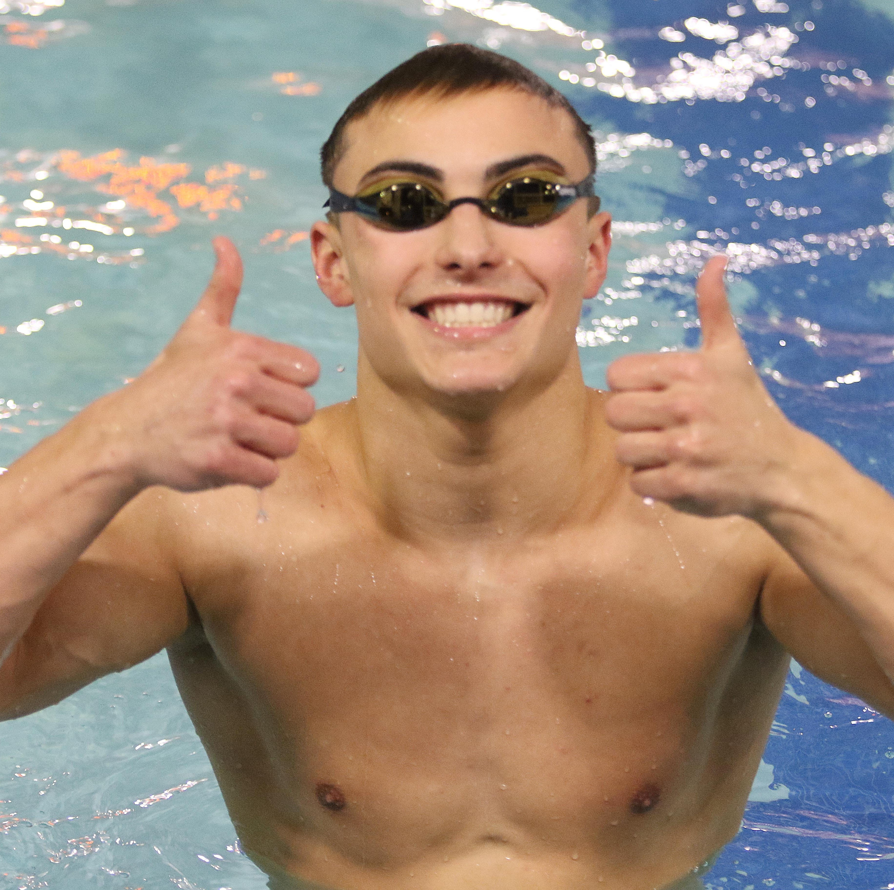 Alec Balasny of River Dell/Westwood after winning the Boys 50 Yard Freestyle.