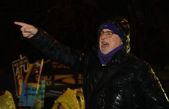 Hundreds including, 32BJ SEIU Vice President, Kevin Brown, rallied outside the Horizon Housing apartment complex.  The workers at the complex are on strike over a contract dispute regarding health care and pension. Tuesday, January 29, 2019