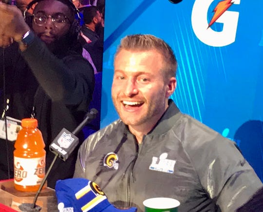 Los Angeles Rams head coach Sean McVay has some fun Monday during Super Bowl Opening Night at State Farm Arena in Atlanta. McVay's Rams will meet Bill Belichick's Patriots in Super Bowl LIII on Sunday.