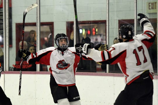 Lakeland's Matthew Coiley, left, and Joey Wogisch (17) celebrate Coiley's goal in the second period. Lakeland defeats Wayne in the Passaic County hockey championship, 6-3, on Monday, Jan. 28, 2019 in Little Falls.